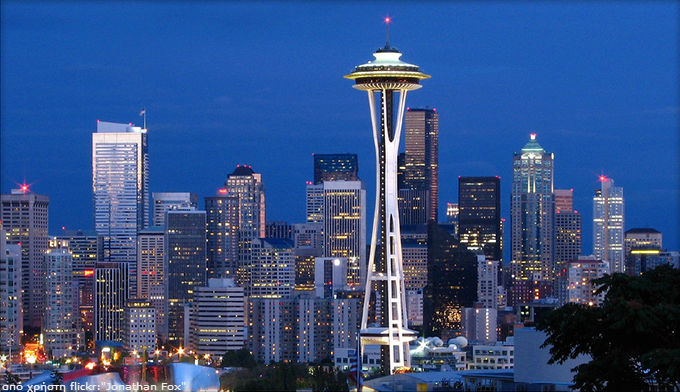 Seattle 's skyline and Space Needle