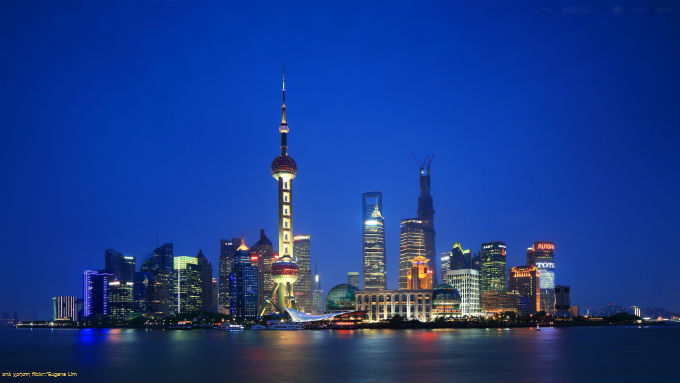 Skyline of Shanghai and the Oriental Pearl